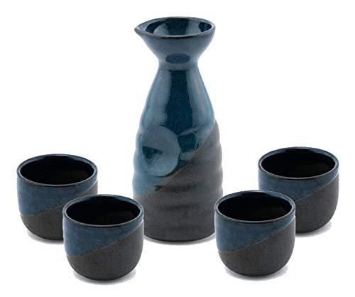 Happy Sales HSSS-BLUBLK, Perfect 5 pc Japanese Design Ceramic Sake set, Blue Black