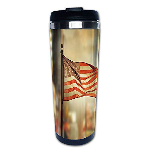 Stainless Steel Insulated Coffee Travel Mug,Waving in City National Independence Day Celebration,Spill Proof Flip Lid Insulated Coffee cup Keeps Hot or Cold 13.6oz(400 ml) Customizable printing (National Japan Stainless)