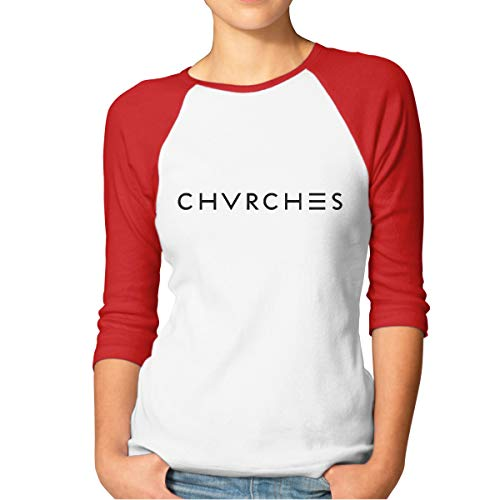 - 19911115 Chvrchrs 3/4 Sleeve Raglan Striped T Shirt Baseball Tunic Tops Blouse for Women Red
