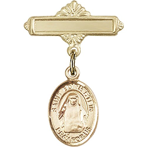 14kt Yellow Gold Baby Badge with St. Edith Stein Charm and Polished Badge Pin 1 X 5/8 inches by Unknown