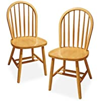 Windsor Comfortable Elongated Shape Solid Beech Wood Traditional Chair, Set of 2, Natural Color