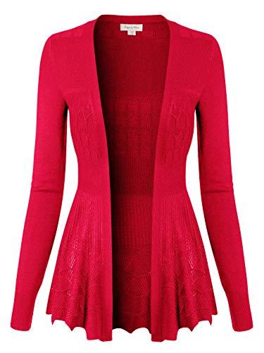 Fuchsia Crochet - Design by Olivia Women's Long Sleeve Crochet Knit Draped Open Sweater Cardigan Fuchsia L