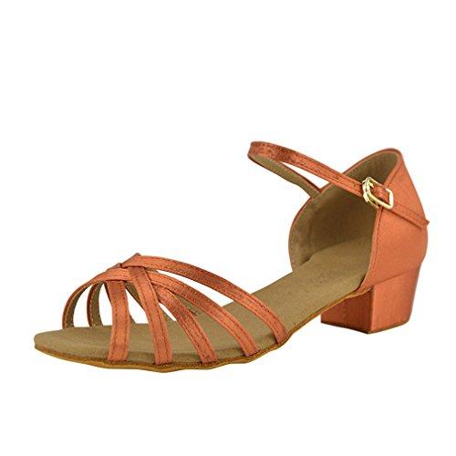 40 Latine BYLE de Sangle Chaussures Chaussures cheville d'enfants de Latine de Modern'Jazz Fond Danse en Danse Satin Chaussures Cuir Sandales Danse de MOU Samba adultes qq1YrxnU