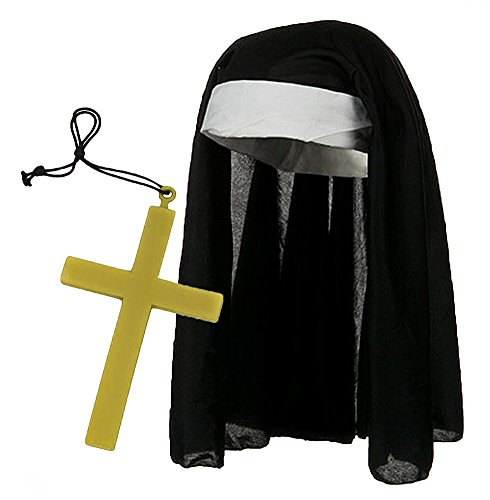 Black & White Catholic Nun Costume Hat w/ Giant Gold Cross Set - Cap Costumes Set