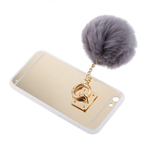 MagiDeal Cubierta De La Caja De Oro Teléfono Con La Imitación De Lana Púrpura De La Bola Para El IPhone 6 6S - Plata Con Rosa Oro con Gris