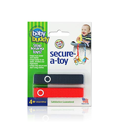 Baby Buddy Secure-A-Toy - Straps Toys, Teether, or Pacifiers to Strollers, Highchairs, Car Seats- Safety Leash With Adjustable Length to Keep Toys Sanitary & Clean, Navy/Red 2 Count