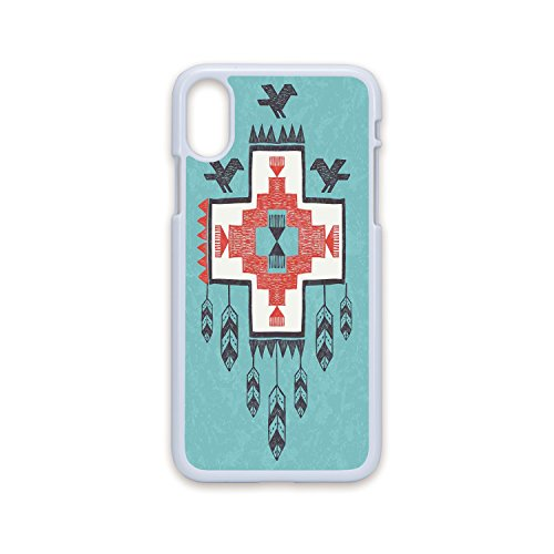 Phone Case Compatible with iPhone X White Edge 2D Print,Native American Decor,Ethnic Tribal Aztec Hand Drawn Dreamcathcher Folkloric Icons Birds Image,Multi,Hard Plastic Phone Case