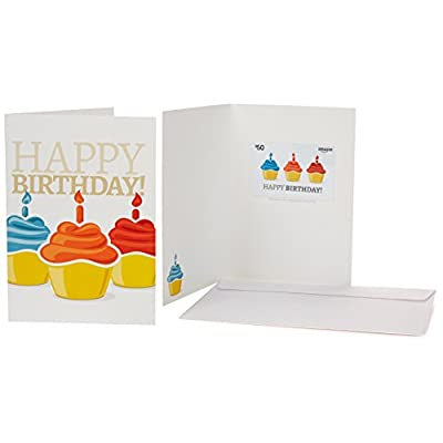 Amazon 50 Gift Card In A Greeting Birthday Cupcake Design