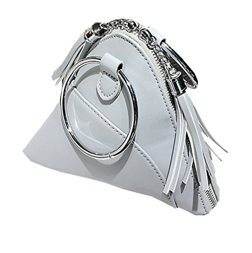 - LIZHIGU Women Leather Clutch Bag Triangle Wristlet Purse Cute Tassel Wallet With Ring Handle Gray