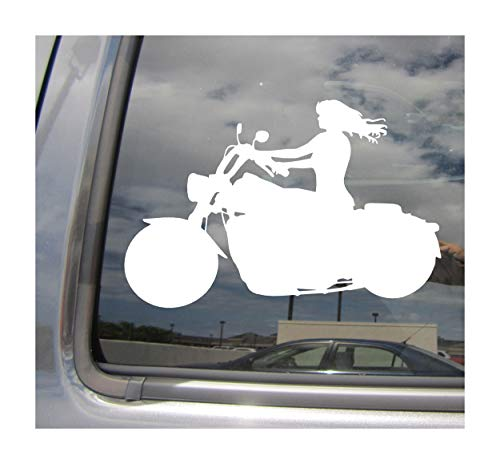 Girl Motorcycle Rider - Cycle Old Lady Biker - Cars Trucks Moped Helmet Hard Hat Auto Automotive Craft Laptop Vinyl Decal Store Window Wall Sticker 10020 ()
