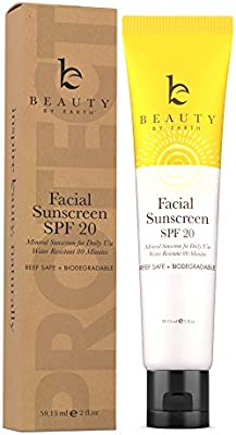 Face Sunscreen SPF 20 - Mineral Sunscreen Face, Reef Safe Sunscreen With Natural & Organic Ingredients, Biodegradable Sunscreen, Zinc Oxide Sunscreen for Daily Use, Facial Sunscreen Travel Size