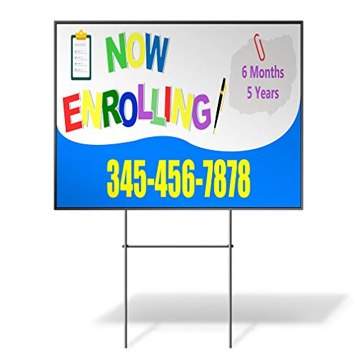 Now Enrolling Ages Phone Number Custom Personalized Yard Sign Blue Wheatherproof for Sale Sign Sets of 2, 3, 5 24INx18IN One Side Print One Sign