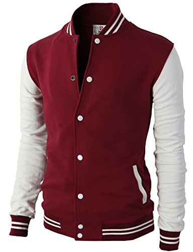 - H2H Mens Slim Fit Varsity Baseball Bomber Cotton Lightweight Premium Jacket  Cmoja083-wine XX-Large