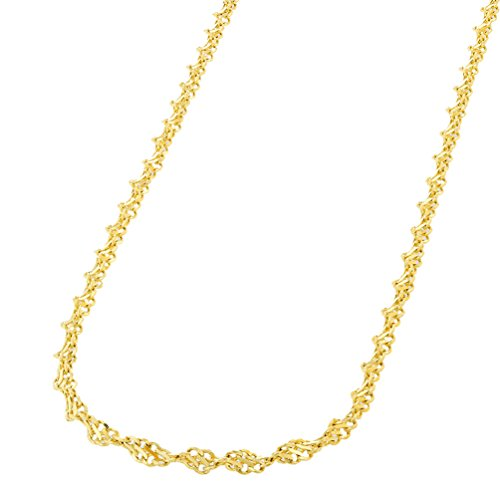 14k Twisted Gold Rope (14K Yellow Gold 1.8mm Singapore Chain Twisted Rope Necklace with Lobster Clasp, 16