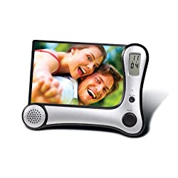 Meridian Point Voice Recording Photo Frame with Records and Plays Back Messages and LCD Clock