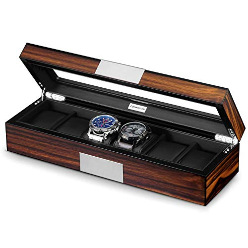 (Lifomenz Co 6 Watch Box Organizer Mens Watch Case Large Watch Storage Box Wood 6 Watch Display)