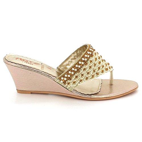 Chaussures sur Confort compensé Soir des Femmes Dames Sandales Mariage Open Taille Fête Détaillé Or mariée De Talon Toe Bas Glisser x6TqzwpB6