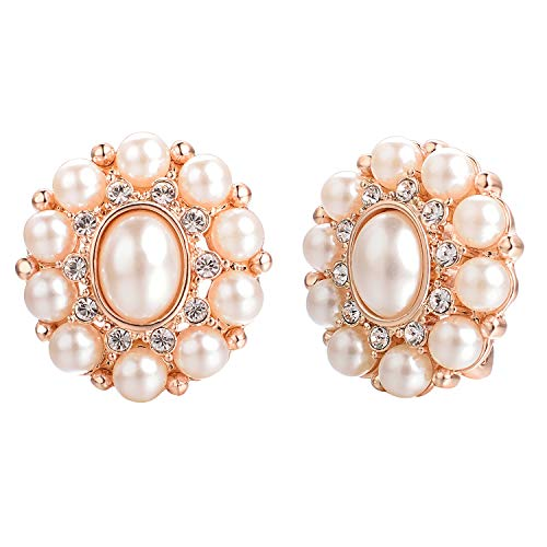 Yoursfs Oval Pearl Clip-On Earrings 18K White Gold Plated Faux Pearl Cabochons Ladies Earrings 1980