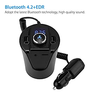 LinkStyle Wireless Bluetooth FM Transmitter MP3 USB Car Radio Aux Bluetooth Adapter Receiver for Car Phone iPhone Charging Hands-Free Calling Black