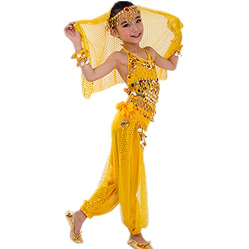 [WILLLIN Handmade Children Belly Dance Costumes Kids Dancing Girls Bollywood Performance Cloth (L,] (Bollywood Costume Party)