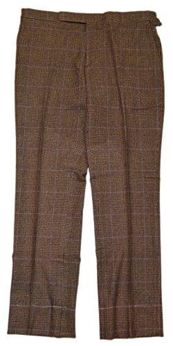 RALPH LAUREN Polo Purple Label Wool Cashmere Flannel Pants Italy Plaid Brown 38