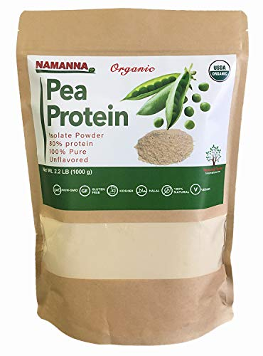 Organic Pea Protein Powder (80% Protein) – 2.2 lb, Non-GMO, Vegan, Kosher, Halal, Gluten Free, Dairy Free, Soy Free, Hypoallergenic, 100% Pure, Unflavored, Plant Based Protein, Keto Friendly