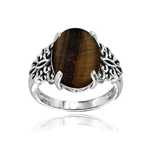 Sterling Silver Simulated Tigers Eye Oxidized Bali Inspired Filigree Oval Ring, Size ()
