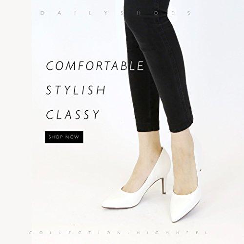 Dailyshoes Donna Confortevole Elegante Alta Imbottito Ufficio Tacchi Bassi Appuntiti Punta A Spillo Scarpe A Spillo Scarpe Bianche Pu