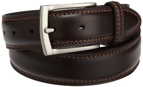 Dockers Mens 35mm Feather Edge Belt With Two-row Stitch, Brown, 46 (Brown Feather Edge)