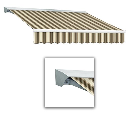 AWNTECH 8-Feet Destin-LX with Hood Left Motor/Remote Retractable Awning, 84-Inch, Brown/Tan/Multicolor