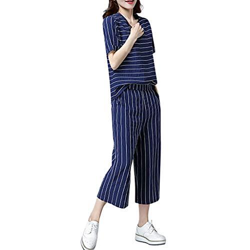 Fashion Striped Cotton Linen T Shirts Capri Pants Set Summer Loose Breathable Clothing Set Pocciol Asymmetrical Capri Pant Set