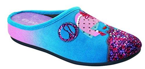 Inblu pantofole ciabatte invernali da donna art. VG-03 acquamarina NUOVO
