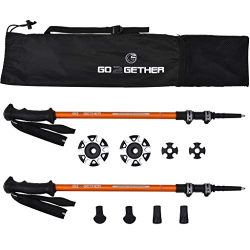 G2 GO2GETHER Hiker Trekking Hiking Poles Telescopic/Aluminum Alloy/Comfort BMM Handle/Auto-Adjustable Strap/Quick Flip Lock/Snow Baskets Attached (Pack of 2 Poles) (Orange & Black)