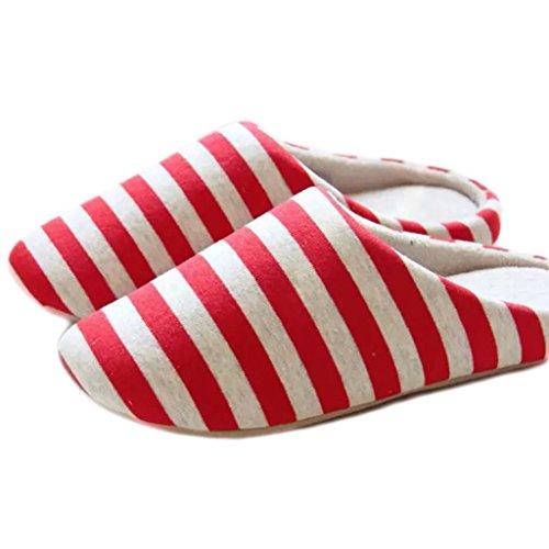 Fortuning's JDS Unisexo Adultos Pareja acogedor Lana Casa Calzado ovejas encantadoras Confortable Zapatillas Rojo