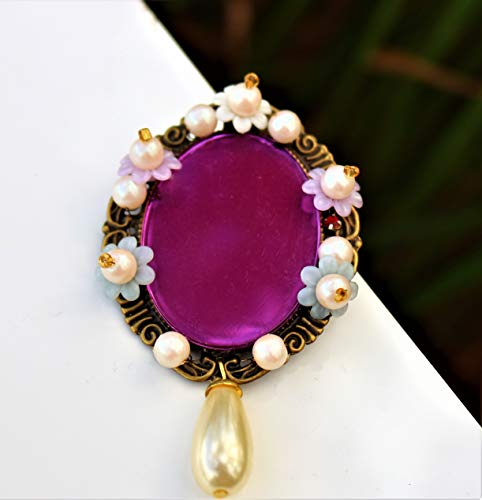 Victorian style cameo with laser cut purple acrylic stone embellished with soft flowers pearl beads BROOCH by Inga Engele USA
