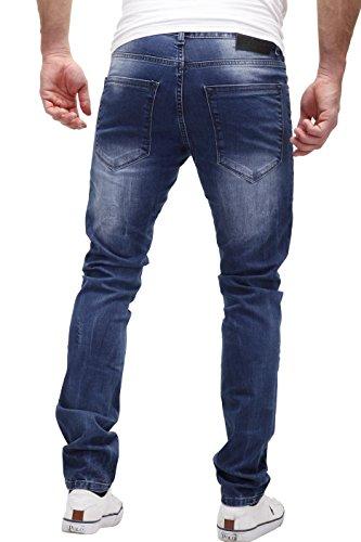Uomo pocket Impunture Tubo Altamente Stile wash patchato 5 Di Distrutto Blu Modello Jeans Colore A Decorative J2076 Merish Gamba Contrasto Elaborazione Dettagliato 65xt4