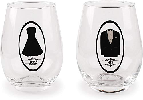 Circleware Fun Saying His and Hers Wine Glasses, Set of 2, Party Entertainment Dining Beverage Drinking Glassware Cups…