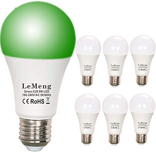 (LeMeng Green LED Light Bulbs 9W A19 (60W 75Watt Equivalent), E26 Medium Base Porch Light 120V for Hallway Holiday Party Decoration, Non Dimmable- 6 Pack)