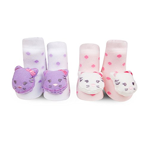 Waddle Baby Girls Kitty Cat Rattle Socks Light Pink Baby Booties Purple 0-12 Mth