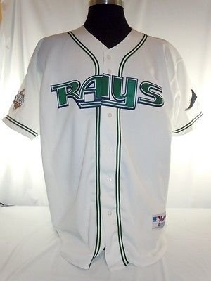Tampa Bay Devil Rays Vintage Authentic Russell Home Jersey with 2008 W.S. Patch