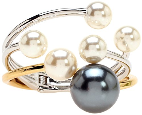 Lova Jewelry Ivory Pearl Silver Tone and Peacock Pearl Gold Tone Glam Metal Bangle Bracelets (Set of 2)