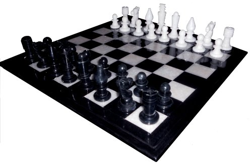 Marble Chess Set Hand Carved Gorara Stone Pieces Play & Gifts New Size:30,48 x 30,48 cm