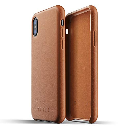 (Mujjo Full Leather Case compatible with iPhone XS, iPhone X | Covered Buttons, 1MM Protective Screen Bezel, Japanese Suede Lining (Tan))