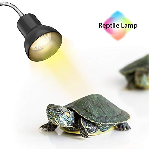 DADYPET 25W Reptile Heat Lamp, Clamp Lamp for Aquarium with Holder UVA UVB Basking Lamp with 360°Rotatable Clip & Power…
