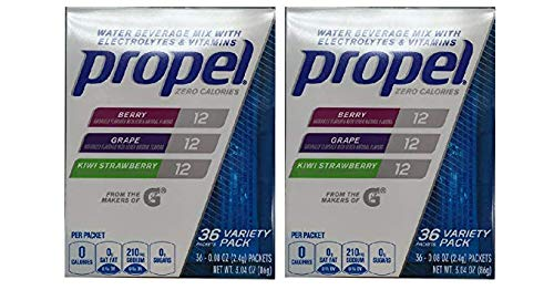 Propel Powder Packets Berry,Grape,Kiwi Strawberry, With Electrolytes, Vitamins and No Sugar, Variety Pack 3 Flavor (72 ()