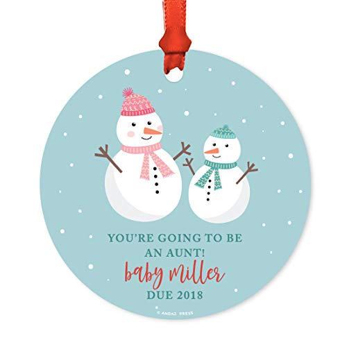 Andaz Press Personalized Pregnancy Announcement Metal Christmas Ornament, You're Going to be an Aunt! Baby Miller Due March 2019, Holiday Snowman Family, 1-Pack, Includes Ribbon and Gift Bag