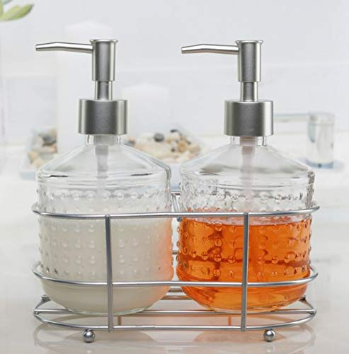 Circleware 32470 Hobnail Dispenser Bottle Pumps in Metal Caddy with Brushed Nickel Finish Set of 2 Bathroom Accessories Home Decor for Essential Oils, Lotions, Liquid Soaps 17.5 oz Vintage - Chrome Double Soap