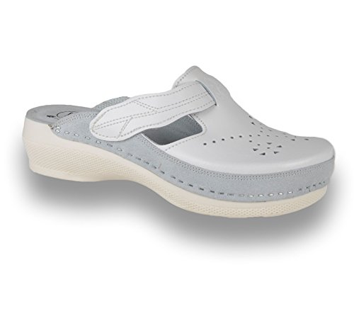 PU156 Bianco Zoccoli Pelle Scarpe LEON Pantofole Sabot Donna F7dwqPOq