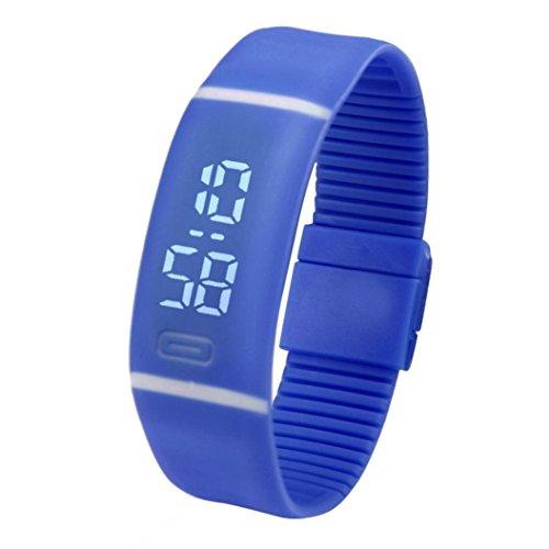Men Women's Watch,FUNIC Rubber LED Watch Date Sports Bracelet Digital Wrist Watch (Blue)