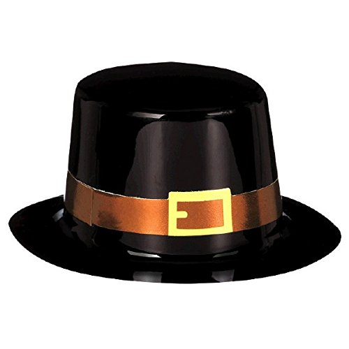 Amscan Mini Pilgrim Black Top Hat for Thanksgiving Party | Accessory ()